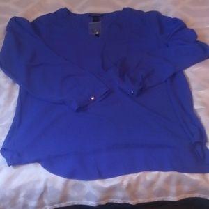 NWT Blue Ashley Stewart blouse long sleeve